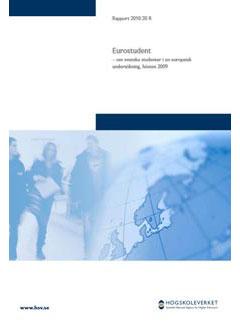 Eurostudent — om svenska studenter i en europeisk undersökning, hösten 2009