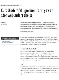 Eurostudent VI – gjennomføring av en stor webundersøkelse.