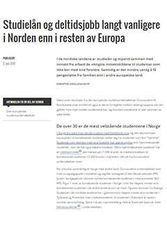 Studielån og deltidsjobb langt vanligere i Norden enn i resten av Europa