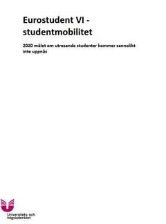 Eurostudent VI - Studentmobilitet. 2020 målet om utresande studenter kommer sannolikt inte uppnås