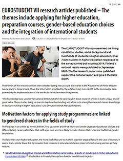EUROSTUDENT VII research articles published – The themes include applying for higher education, preparation courses, gender-based education choices and the integration of international students