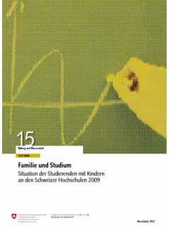 Familie und Studium <br/> Situation der Studierenden mit Kindern an den Schweizer Hochschulen 2009