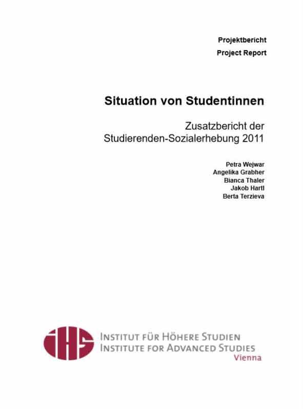Situation von Studentinnen.  Zusatzbericht der Studierenden-Sozialerhebung 2011