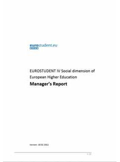 Manager's Report EUROSTUDENT IV (2008-2011)