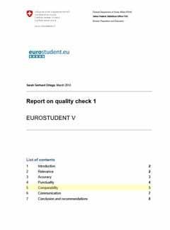 Report on quality check 1 EUROSTUDENT V