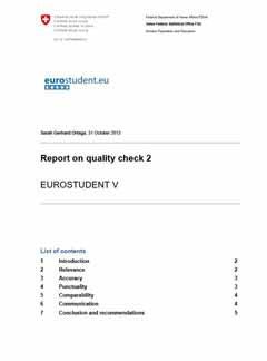 Report on quality check 2 EUROSTUDENT V