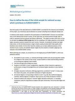 Instructions on sample size for EUROSTUDENT V
