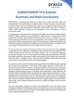 EUROSTUDENT VI in Estonia. Summary and Main Conclusions
