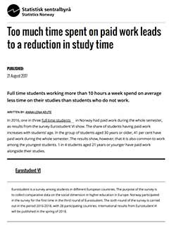 Too much time spent on paid work leads to a reduction in study time